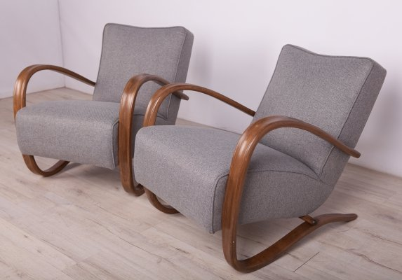 Pair of Model H-269 Lounge Chairs by Jindřich Halabala for UP Závody, 1930s