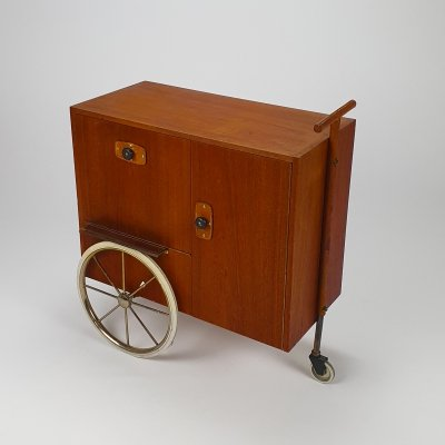 Mid century French Design Teak & Leather serving trolley, 1950s
