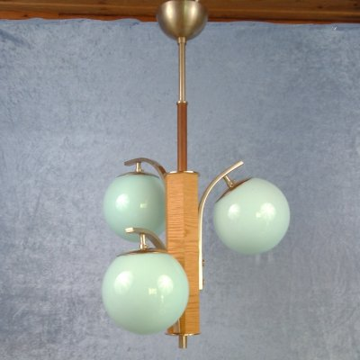 Bauhaus/modernistic ceiling lamp with three blue glass globes, Sweden 1930/40's