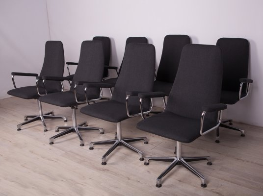 Set of 8 Conference Swivel Armchairs from Johanson Design, 1990s