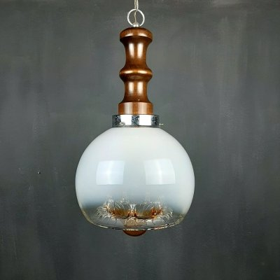 Large vintage murano glass pendant lamp by Mazzega, Italy 1960s