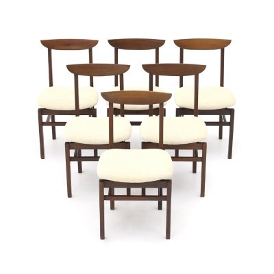 Set of 6 chairs in wood & cream-colored fabric, 1960's