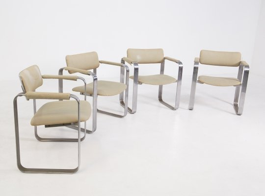 Set of four chairs by Giuseppe Pagano in Steel & Fabric