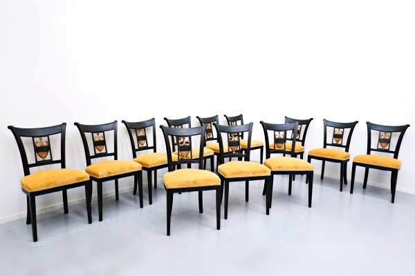Set of 12 empire style dining chairs, 1970s