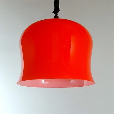 Vintage red glass pendant lamp, Italy 1960s