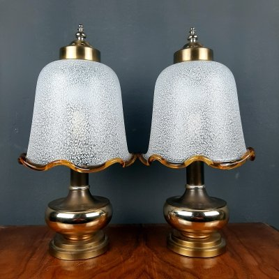 Pair of vintage murano glass night lamps, Italy 1980s