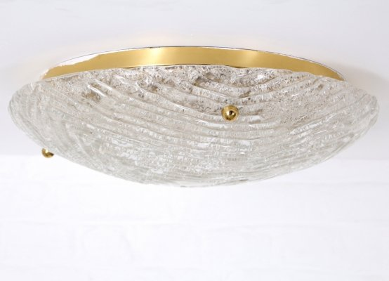 Blown glass & brass ceiling lamp by Hillebrand, 1970's