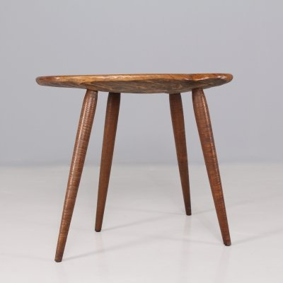 Gouge-carved wood coffee table/stool, 1950's