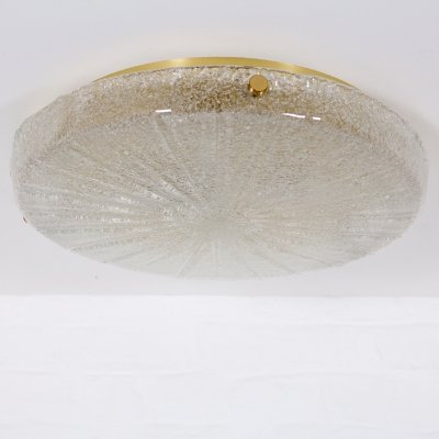 Blown glass textured 'crystal sugar' & brass ceiling lamp by Hillebrand