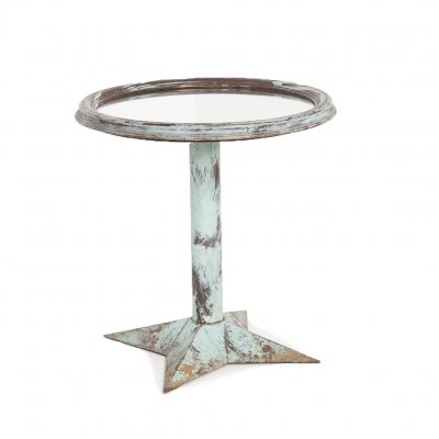 French Bistrot Table Pickled in Light Blue with Mirror Top