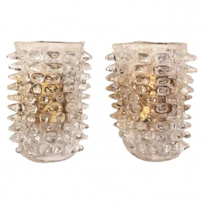 Set of Two Mid-Century Modern Huge Rostrato Murano Glass Wall Sconces