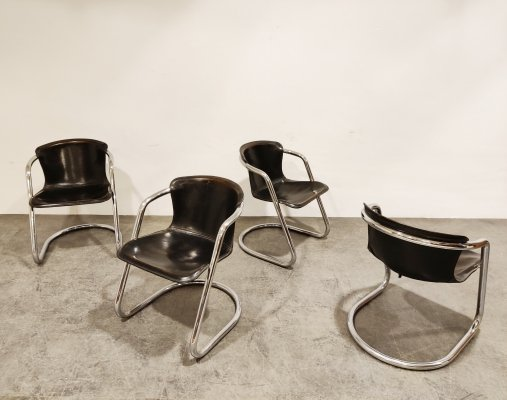 Vintage leather & chrome dining chairs, 1970s