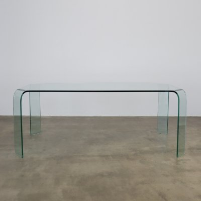 Glass dining table by Fiam Italia, 1980s