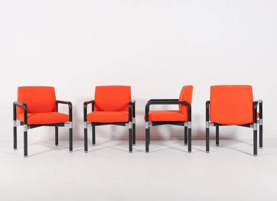 Vintage set of 4 colorful COR design armchairs, 1970's