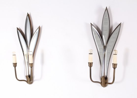Pair of brass & beveled mirror Italian wall lights with parcloses, 1970's