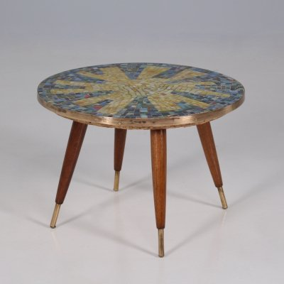 Glass mosaic & brass coffee table/bolster, 1960's