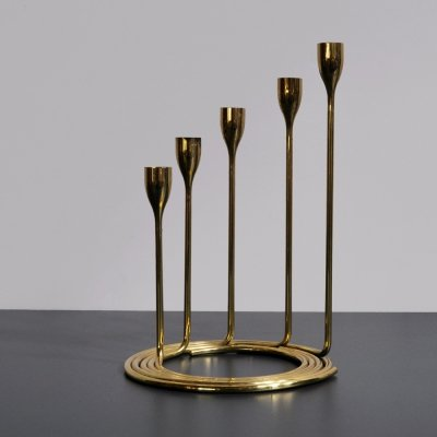 Solid brass candlestick holders with spiral base, Denmark 1960s