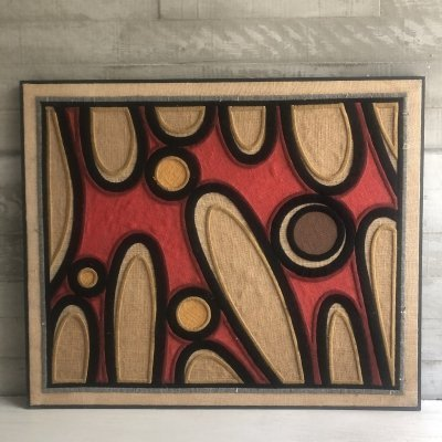 Embroidered artpiece with organic shapes & a wooden frame