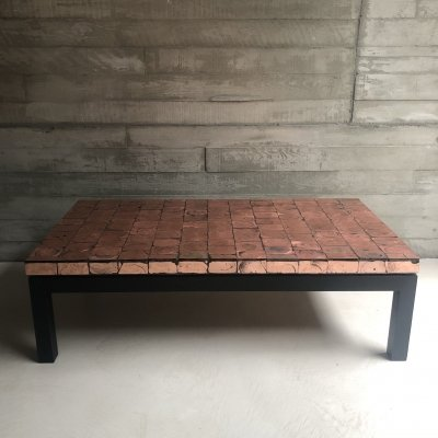Handmade copper foil/glass tiles coffee table with wooden base & floating top