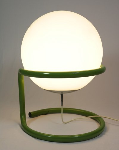Big ball lamp in a green metal frame by Archi Design, 1970s
