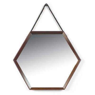 Italian Hexagonal Mirror with Wooden Frame & Leather Strap