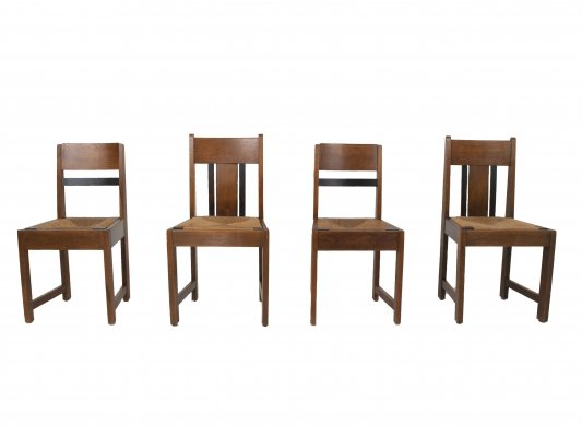 Set of Four Art Deco Amsterdam School Dining Chairs, The Netherlands 1930s