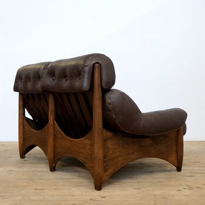 Brutalist leather two seater, 1970s