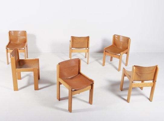 Ibisco set of 6 saddle leather chairs, Italy 1970's