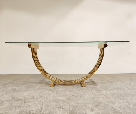 Vintage brass dining table, 1970s