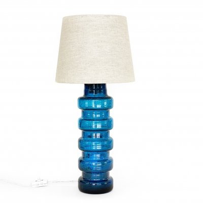 Large vintage glass table lamp with linen shade, Sweden 1960s