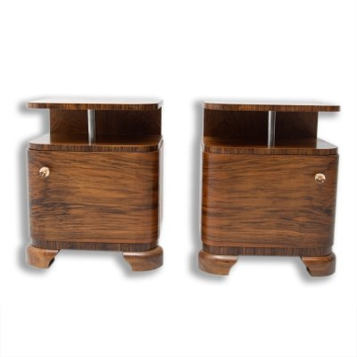Pair of Art Deco bedside tables with chrome element, 1930s