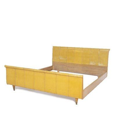 Luxurious Italian Bed in Yellow Parchment, Wood & Brass