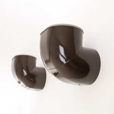 Pair of brown Gomito Wall Lamps by Gae Aulenti for Stilnovo
