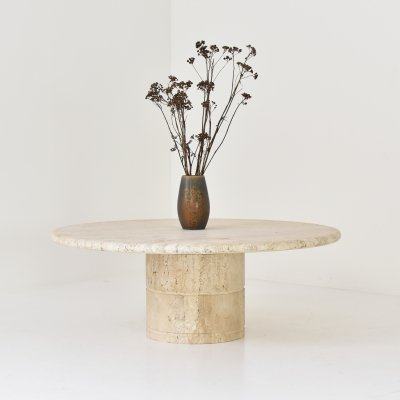 Travertine coffee table by Angelo Mangiarotti for Up & Up, Italy 1970's