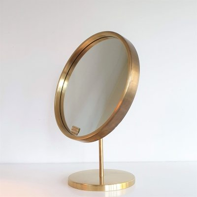 Brass table mirror produced by Glas Mäster, Sweden 50s