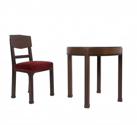 Art Deco Amsterdam School set of Chair & Table in Mahogany, The Netherlands
