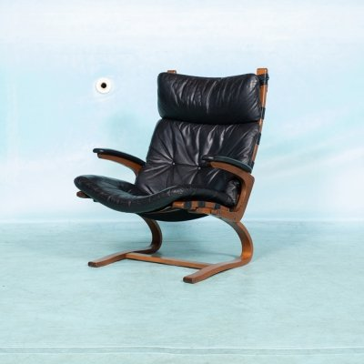 Vintage Norwegian plywood & leather relax armchair, 1970s