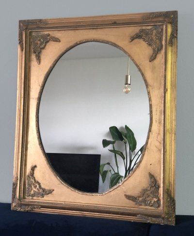 French Oval Empire Style Giltwood Square Mirror, 1970s