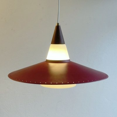 Danish cased glass hanging lamp with perforated metal disk, 1960s