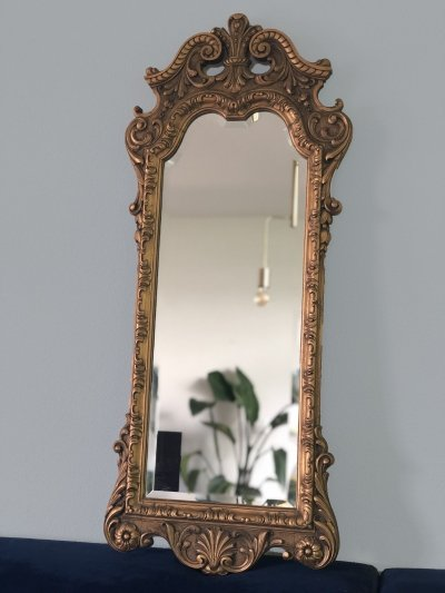 Art Deco Facet cut Carved wooden Giltwood Penant Mirror, 1920s