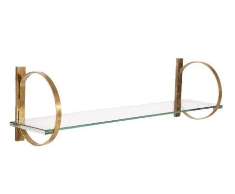 Italian Hanging Console in Brass & Thick Glass, 1960s