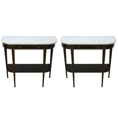Pair of French 1950s Console Tables with White Marble Tops