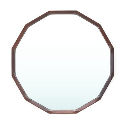 Dodecagonal shaped wooden frame mirror by Tredici & Co., 1960's