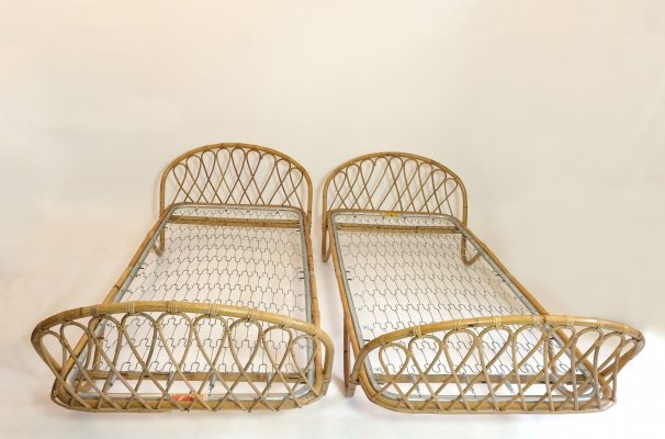 French rattan bed, 1960s