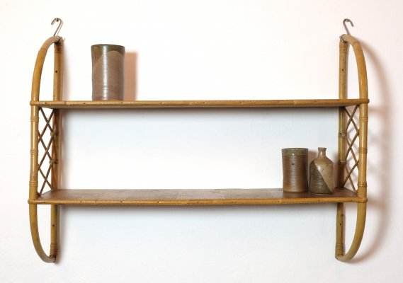French wood & rattan shelves, 1960s-1970s