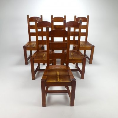 Set of 6 Brutalist Oak Dining Chairs, 1960s