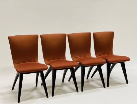 Set of 4 swing dining chairs by G.J. van Os for Van Os Culemborg, Netherlands 1950