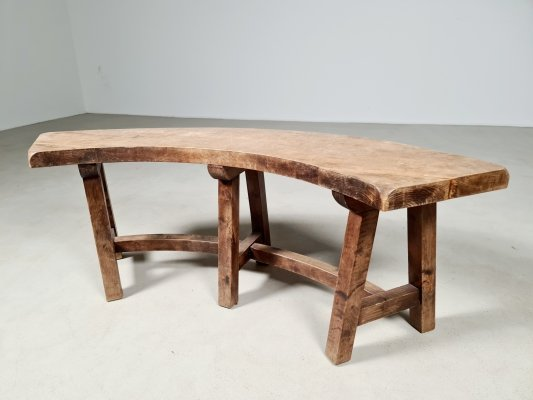 Curved oak French bench, 1920s