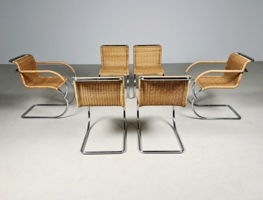 Set of 6 rattan dining chairs, 1970s