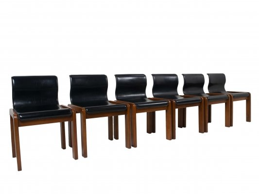 Set of 6 Afra & Tobia Scarpa Midcentury Leather & Plywood Dining Chairs, Italy 1960s